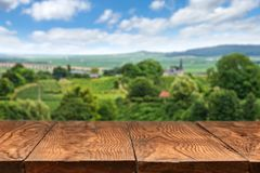 Wooden Table With Vineyard Landscape Stock Photography