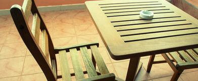 Wooden table wooden chair Royalty Free Stock Photo