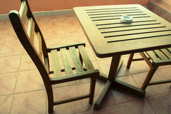 Wooden table wooden chair Stock Photo