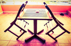 Wooden table wooden chair Stock Image