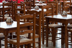 Wooden tables and chairs in  cafe Stock Photos