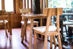 Wooden tables and chairs. Royalty Free Stock Photography