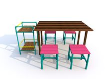 Wooden tables with chairs Stock Photos