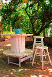 Wooden tables and chairs under a tree. Stock Photos