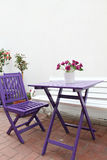 Wooden tables and chairs Royalty Free Stock Photo