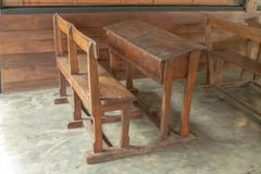 Wooden tables and chairs royalty free stock image
