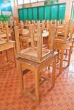 Wooden tables in classroom Stock Image