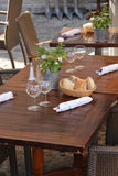 Wooden tables at a restaurant Royalty Free Stock Image