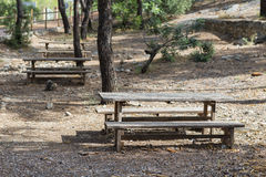 Wooden tables. Royalty Free Stock Photo