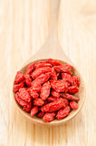 Wooden tablespoon of dried goji berries Royalty Free Stock Photography