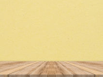 Wooden tabletop at tropical paper texture wall,Template mock up Stock Image
