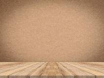 Wooden tabletop at tropical paper texture wall,Template mock up Royalty Free Stock Photography