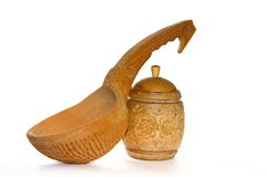 Wooden tableware. For preparation squeak on a white background Royalty Free Stock Photos