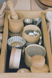 Wooden tableware Stock Photo