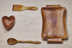 Wooden tableware background Stock Photos