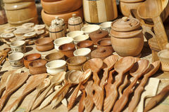 Wooden tableware and cutlery Royalty Free Stock Photography