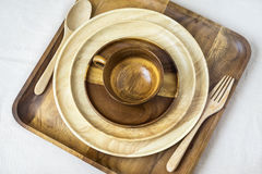 Wooden Tableware Royalty Free Stock Photo