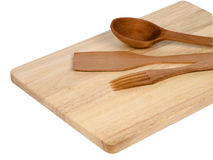Wooden  tableware utensil spoon and fork Stock Photos