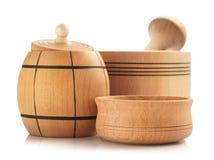 Wooden tableware on white Stock Photos
