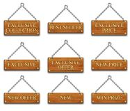 Wooden tag set1 Stock Photos