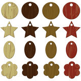 Wooden Tags. Wood grain tag sets colorful Vector Illustration