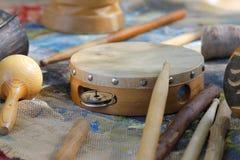 Wooden Tambourine stock photos