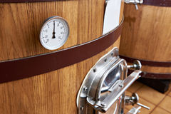Wooden tank barrel for aging wine Stock Photo