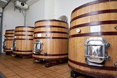 Wooden tank barrels for aging wine at winery Stock Photography