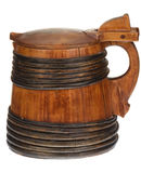 Wooden tankard with lid royalty free stock photos