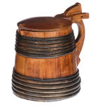 Wooden tankard with lid stock photo