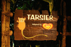 Wooden Tarsier Sign Stock Images
