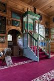Wooden Tatar mosque interior in Bohoniki, Poland. BOHONIKI, POLAND -  MAY 03, 2018: Wooden tatar-mosque interior from the 18th century. The decorations and Stock Images