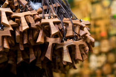 Wooden tau crosses. A bunch of wooden tau crosses Stock Photography