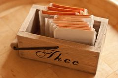 Wooden tea box with teabags Royalty Free Stock Images