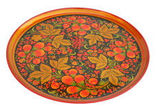 Wooden tea-tray. The wooden  tea-tray, mural to hohloma style, russia, isolated Royalty Free Stock Photos