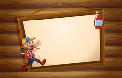 A wooden template with a lumberjack and a lamp Royalty Free Stock Images