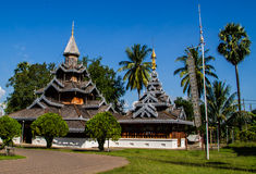 Wooden temple building Stock Images