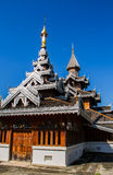 Wooden temple building stock photos