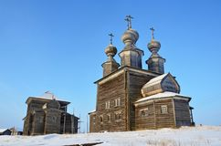 Wooden temple complex summer and winter churches. Vorzogory village, Arkhangelsk region, Russia royalty free stock images