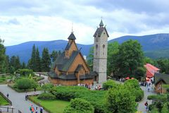 Wooden temple wang, Karkonosze Mountains, Karpacz city. Royalty Free Stock Image