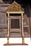 Wooden Temple Window. At a Buddhist temple in North of Thailand Stock Photo