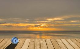 Wooden terrace with the beach view in summer royalty free stock photo