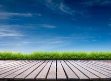 Wooden terrace and blue sky Stock Image