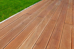 Wooden terrace. And green grass Stock Image