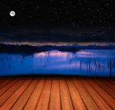 Wooden Terrace With Lake Royalty Free Stock Image