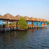 Wooden terrace in lake. Royalty Free Stock Photo