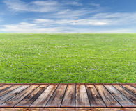 Wooden terrace with lawn Royalty Free Stock Photos