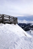 Wooden terrace at Alpine ski resort, Austria Royalty Free Stock Image