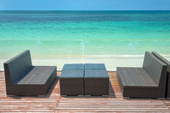 Wooden terrace with perfect sea view, lounge sofa. And table Stock Photography