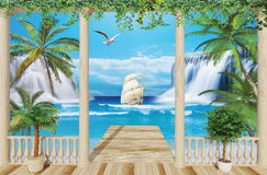 Wooden terrace with sea view. Wooden terrace overlooking the sea, the ship and waterfalls Royalty Free Stock Photo